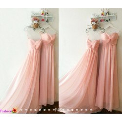 Floor Length Sweetheart Pink Chiffon Bridesmaid Dress With Ruched